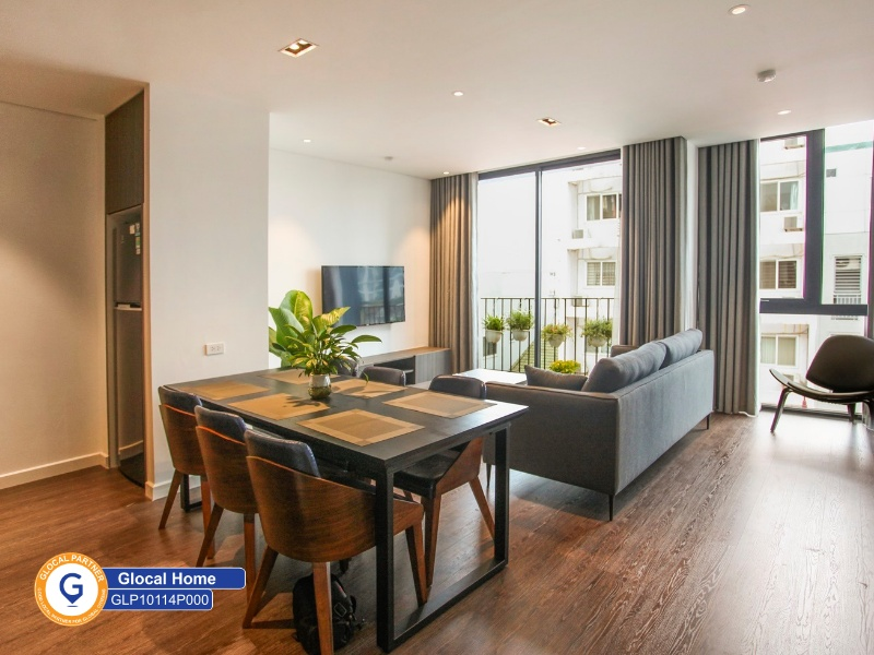 A 1-bedroom deep-tone furniture apartment with balcony in Tay Ho
