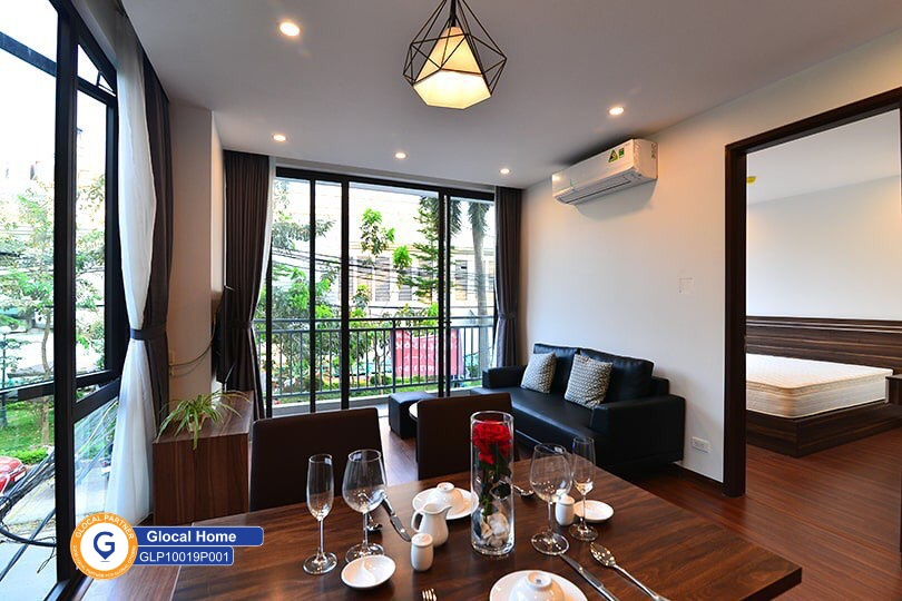 1 bedroom apartment with balcony overlooking the green trees in Tu Hoa
