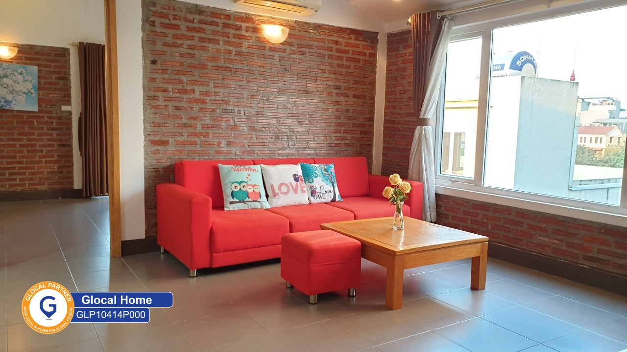 1 bedroom apartment with large windows, brick wall decor in Tay Ho