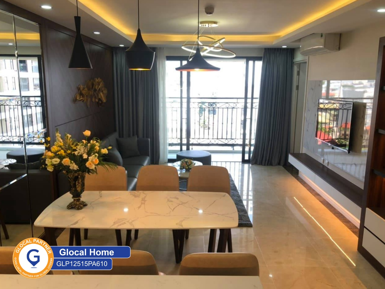 3 bedroom apartment with balcony and fully furnished in L'e roi de Solei Xuan Dieu